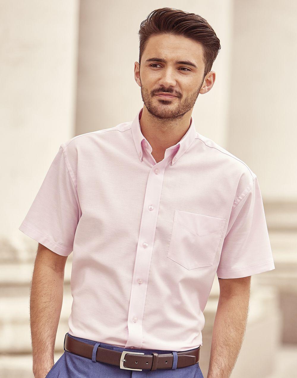 Camisas manga corta russell oxford manga corta hombre cuello con botones con publicidad vista 2