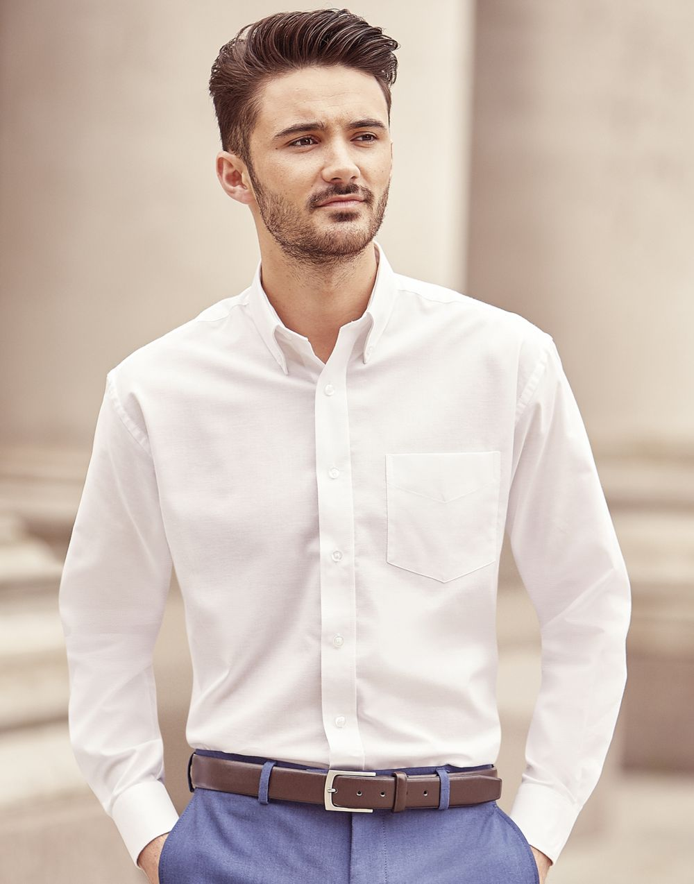 Camisas manga larga russell oxford manga larga hombre vista 1