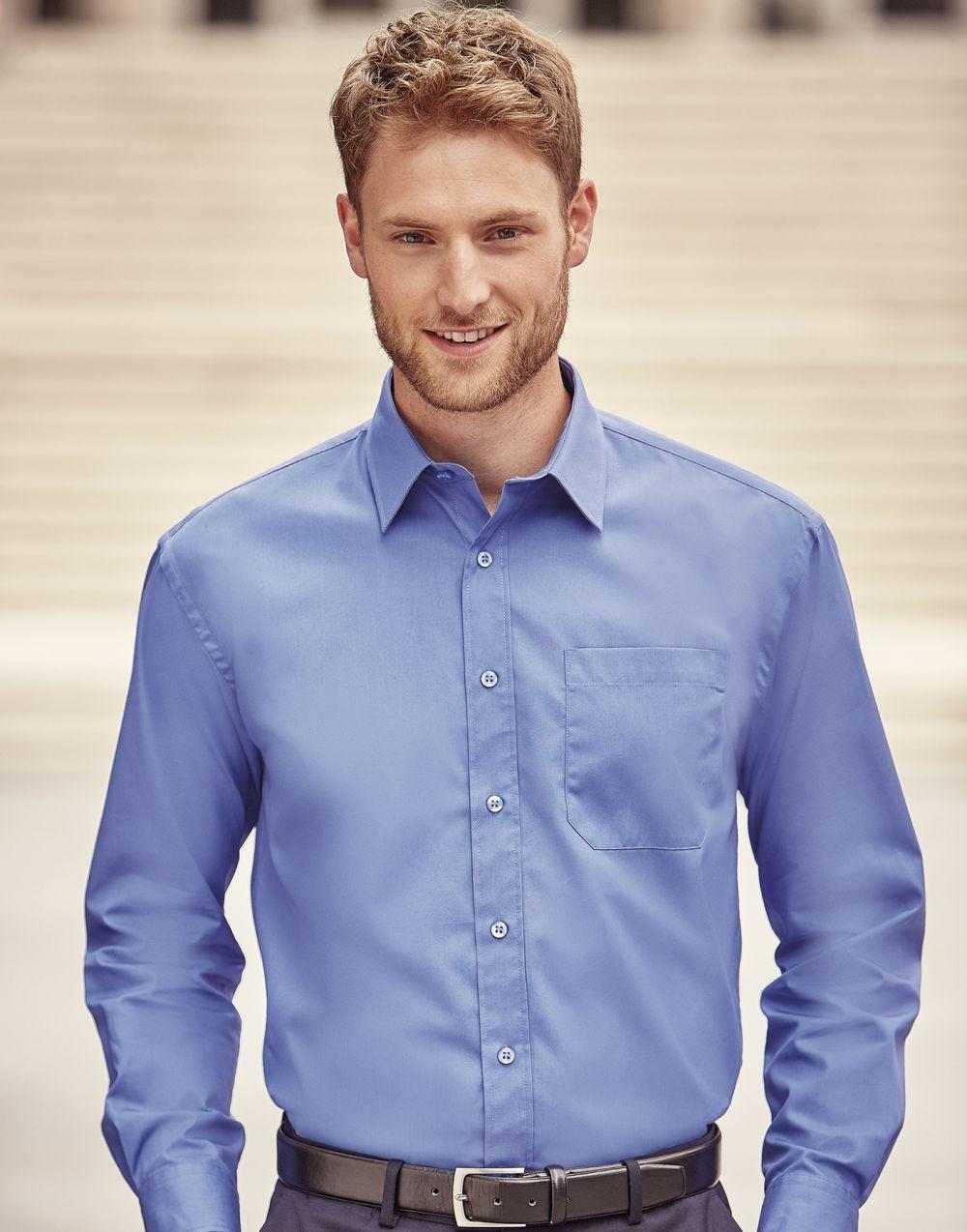 Camisas manga larga russell popelin manga larga hombre con logo vista 1