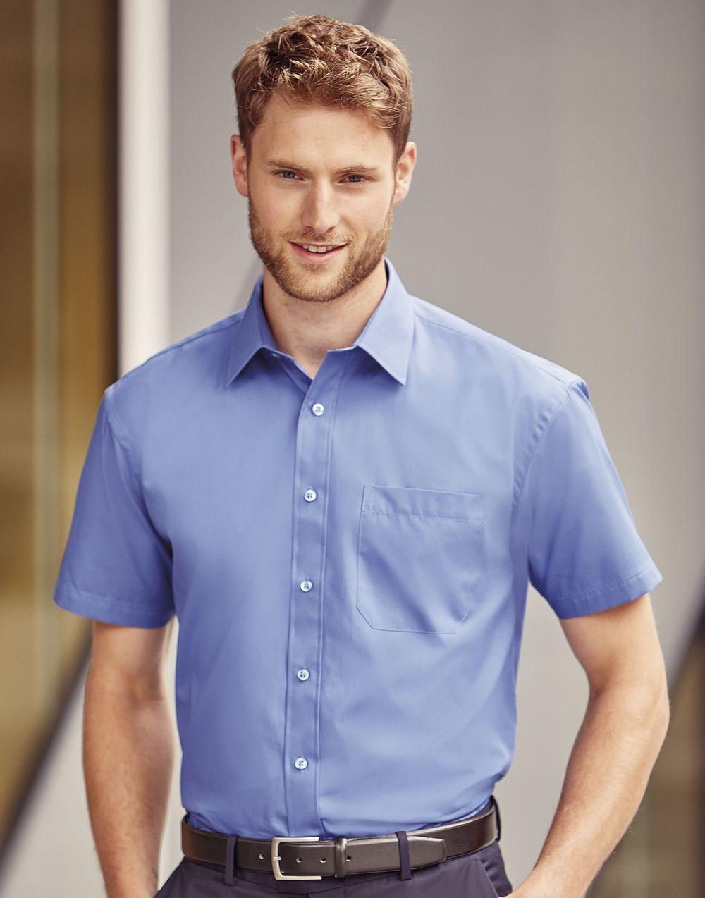 Camisas manga corta russell popelin manga corta hombre con bolsillo con publicidad vista 1