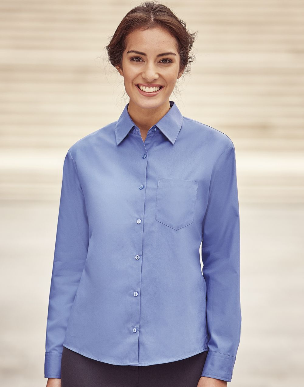 Camisas manga larga russell de mujer 100% algodón manga larga con logo vista 1