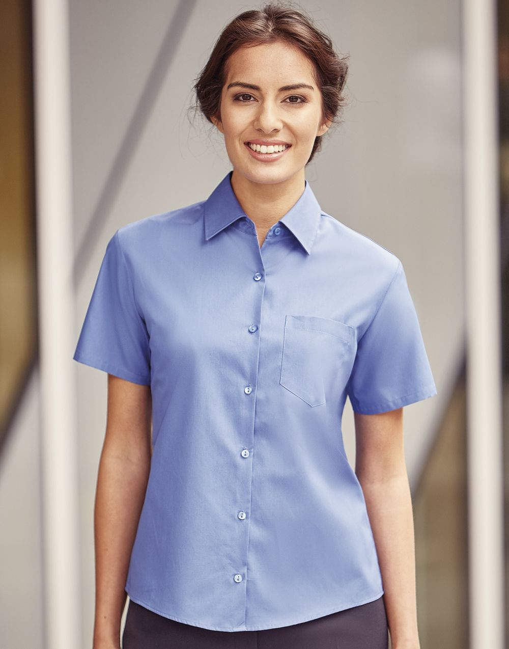 Camisas manga corta russell popelin mujer con publicidad vista 1