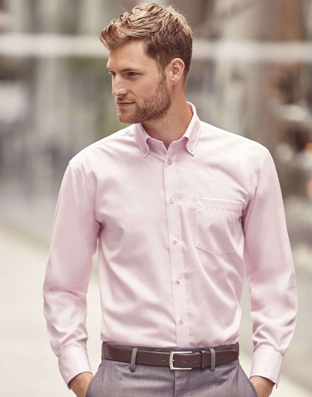 Camisas manga larga russell manga larga hombre con publicidad vista 3