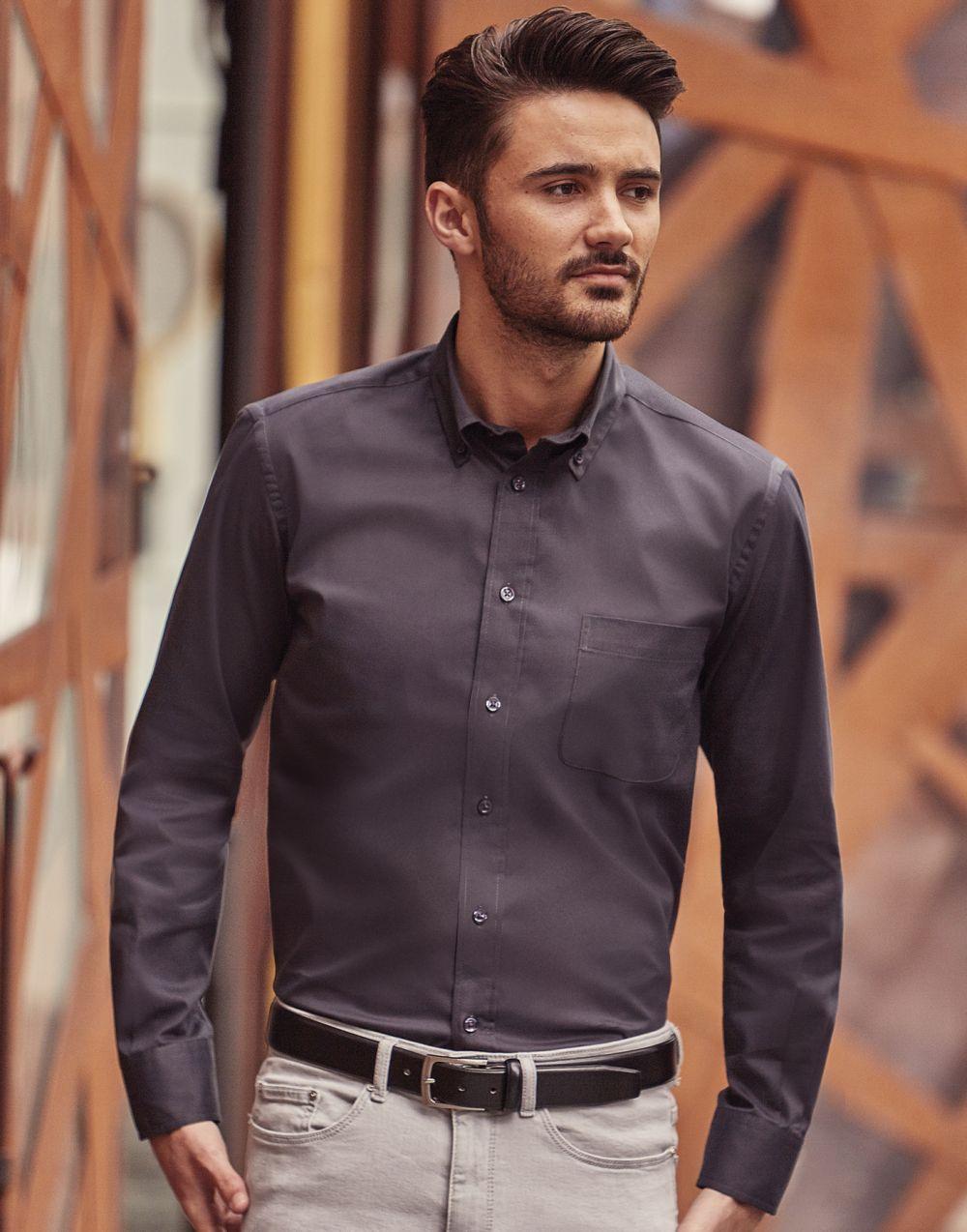 Camisas manga larga russell clásica sarga manga larga con logo vista 6