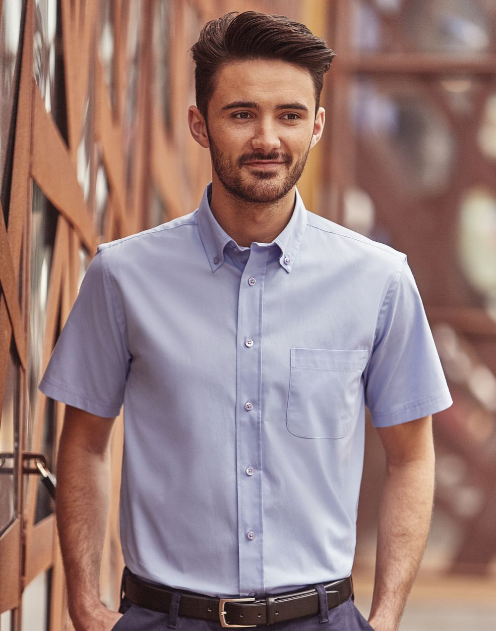 Camisas manga corta russell clásica sarga manga corta con impresión vista 2