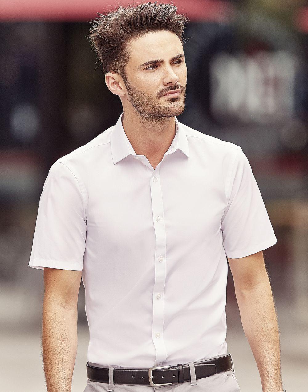 Camisas manga corta russell ajustada manga corta ultimate hombre para personalizar vista 2