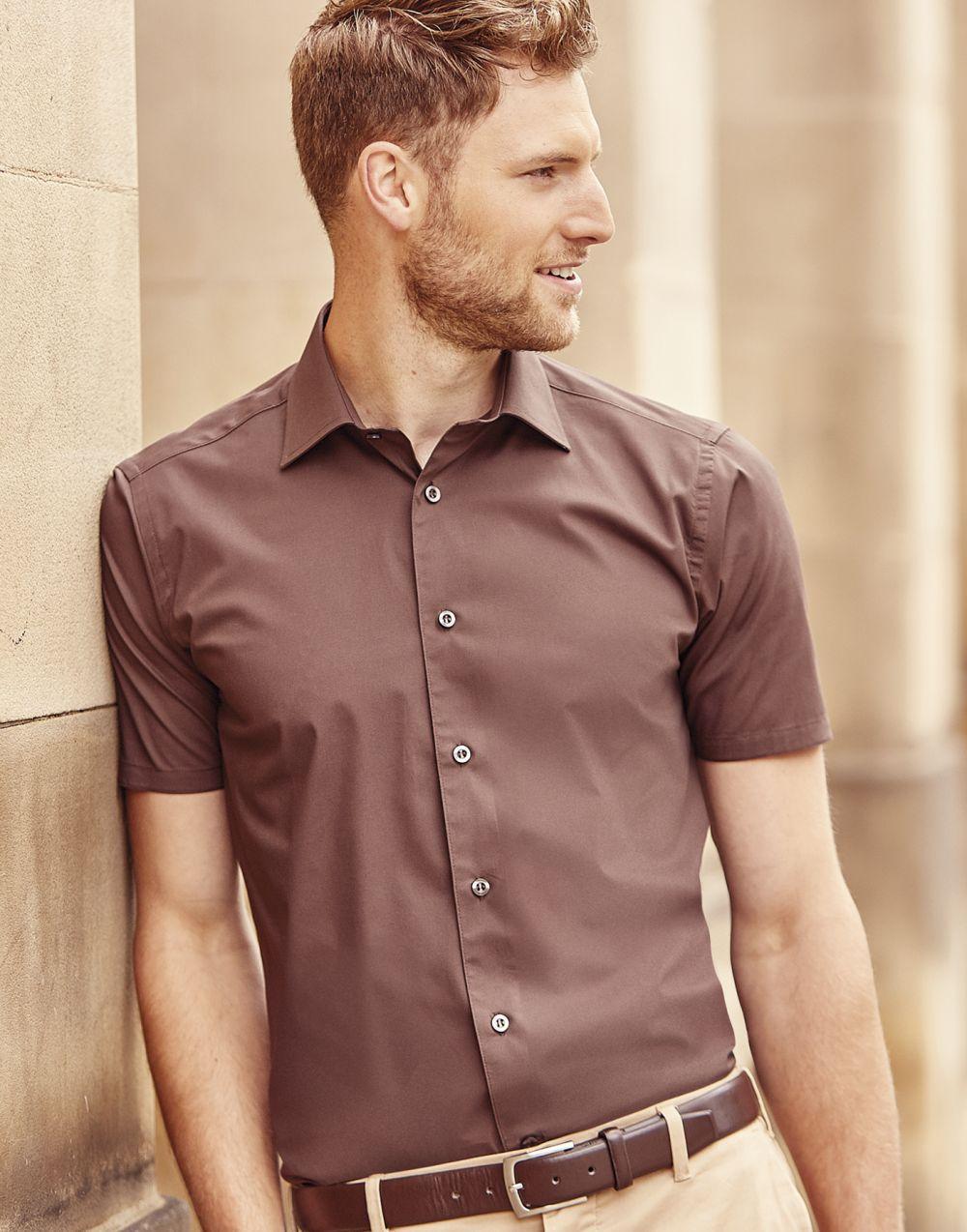 Camisas manga corta russell entallada manga corta para personalizar vista 4