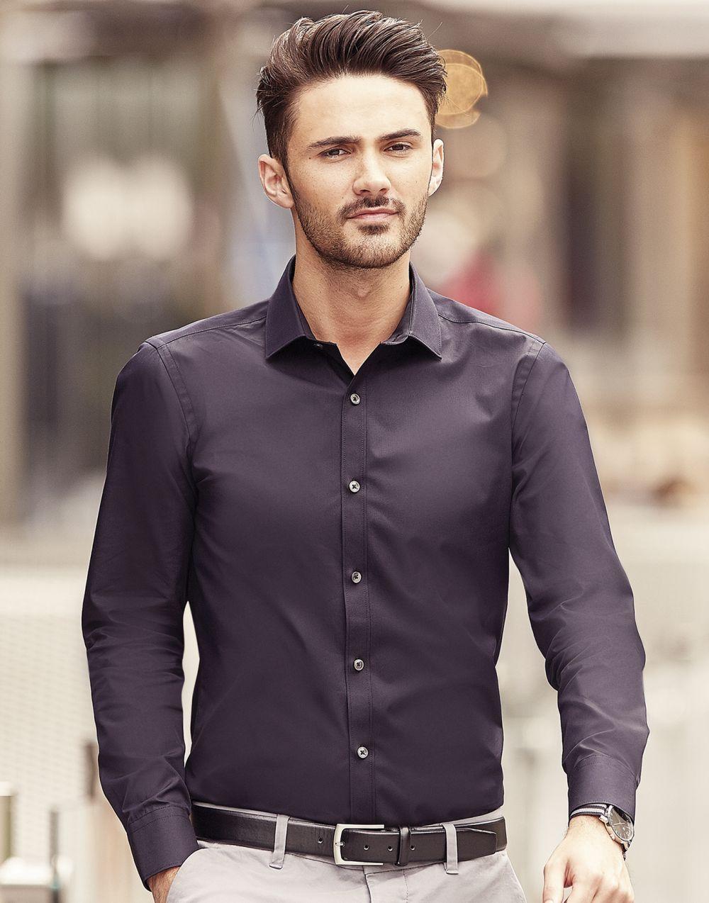 Camisas manga larga russell ajustada manga larga ultimate hombre con publicidad vista 5