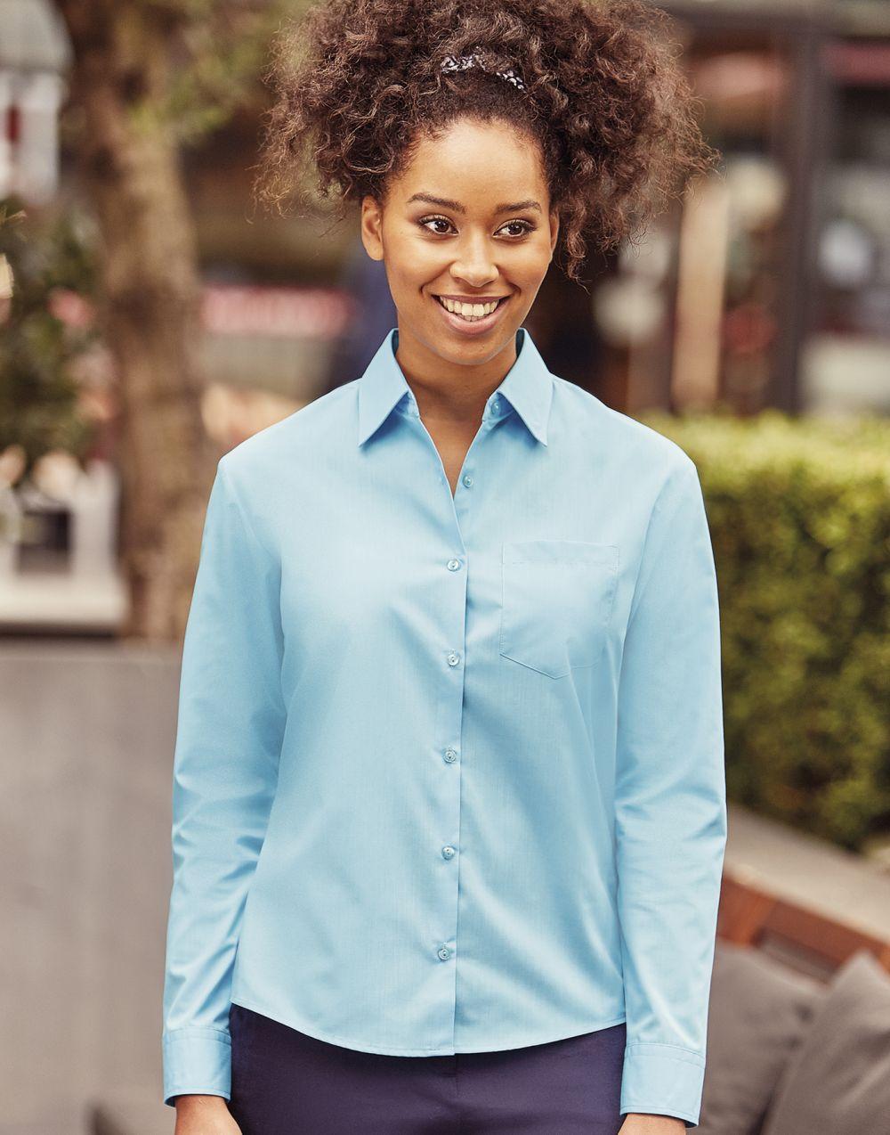 Camisas manga larga russell popelin manga larga de mujer para personalizar vista 7