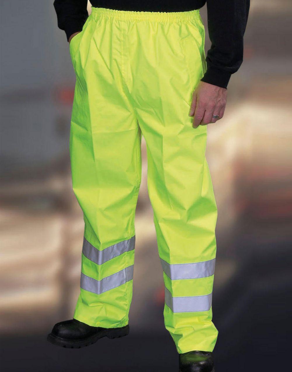 Pantalones reflectantes yoko fluo yellow con logo imagen 1