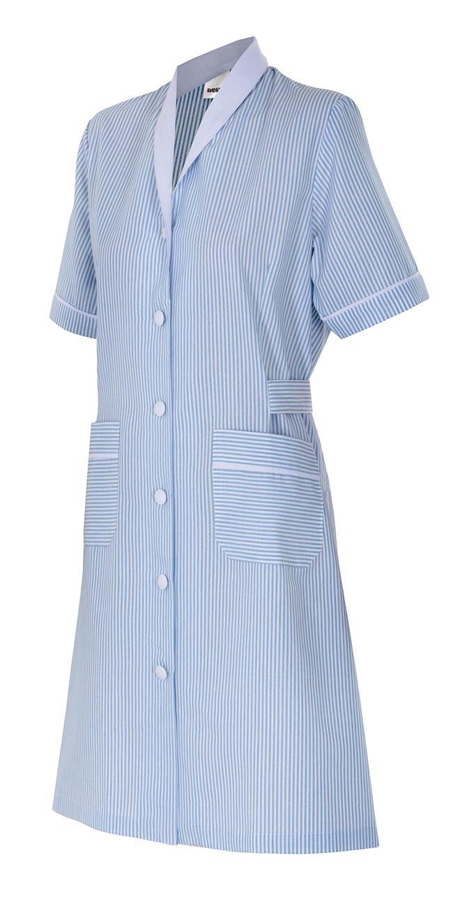 Batas sanitarias velilla a rayas mujer manga corta de algodon con logo imagen 1