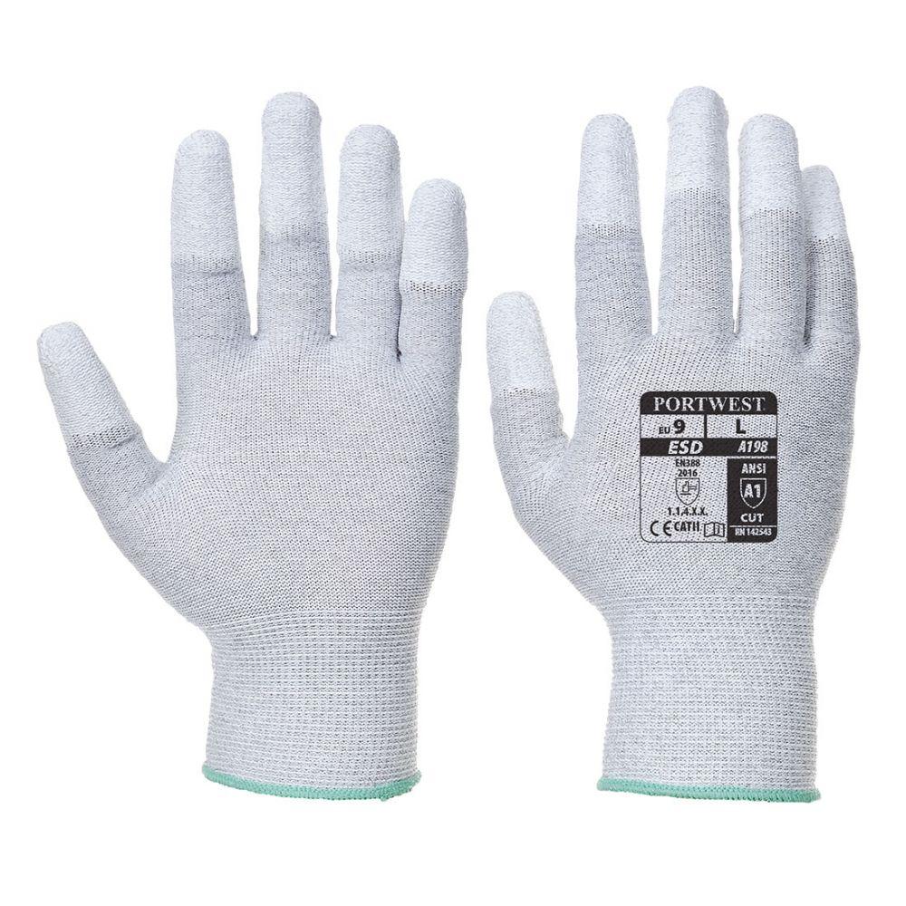 Guantes de trabajo antiestático con las puntas cubiertas con pu vista 1
