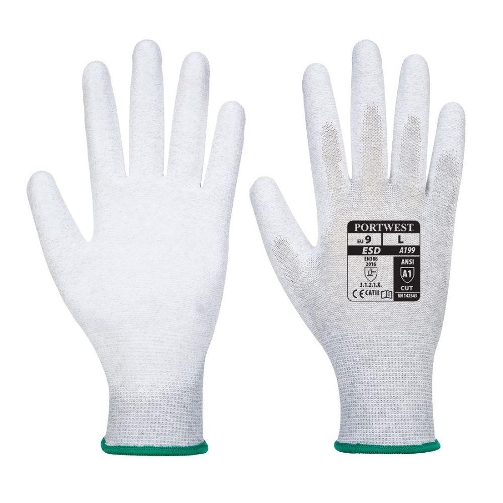 Guantes de trabajo antiestático con la palma cubierta con pu vista 1