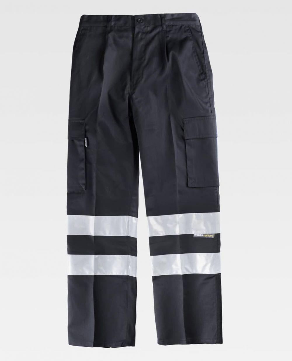 Pantalones reflectantes workteam recto con cintas reflectantes de poliéster vista 1