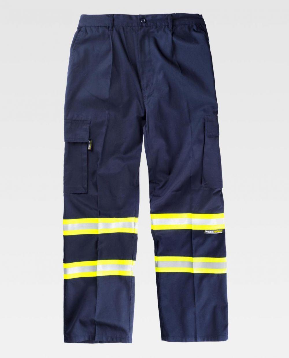 Pantalones reflectantes workteam recto fluorescentes de poliéster para personalizar vista 1