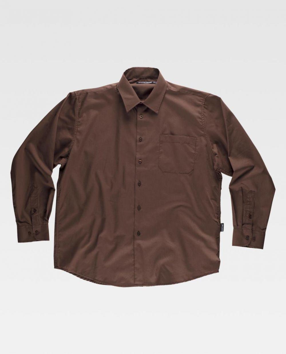 Camisas de trabajo workteam cuello clasico y un bolsillo de poliéster para personalizar vista 1