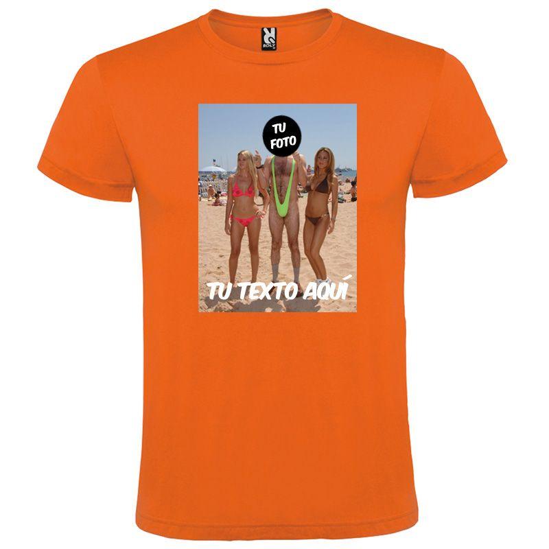 Camisetas despedida hombre para fiestas con diseño de hombre en bañador 100% algodón para personalizar vista 1