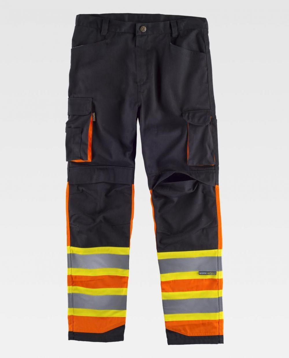 Pantalones reflectantes workteam combinado bandas reflectantes fluorescentes de poliéster vista 1