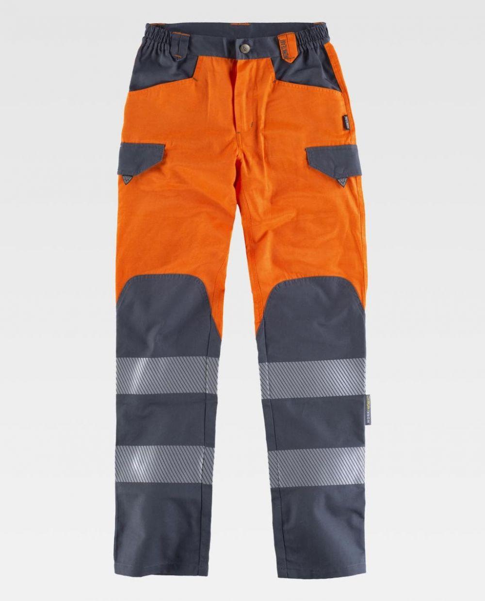 Pantalones reflectantes workteam combinado alta visibilidad de poliéster para personalizar vista 1