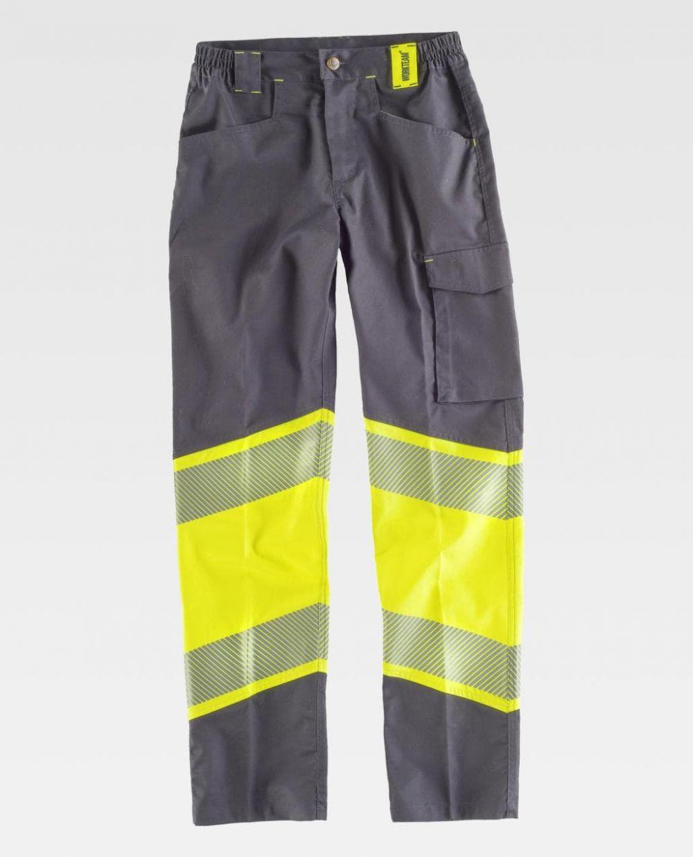 Pantalones reflectantes workteam tejido elastico bidireccional combinado de poliéster vista 1