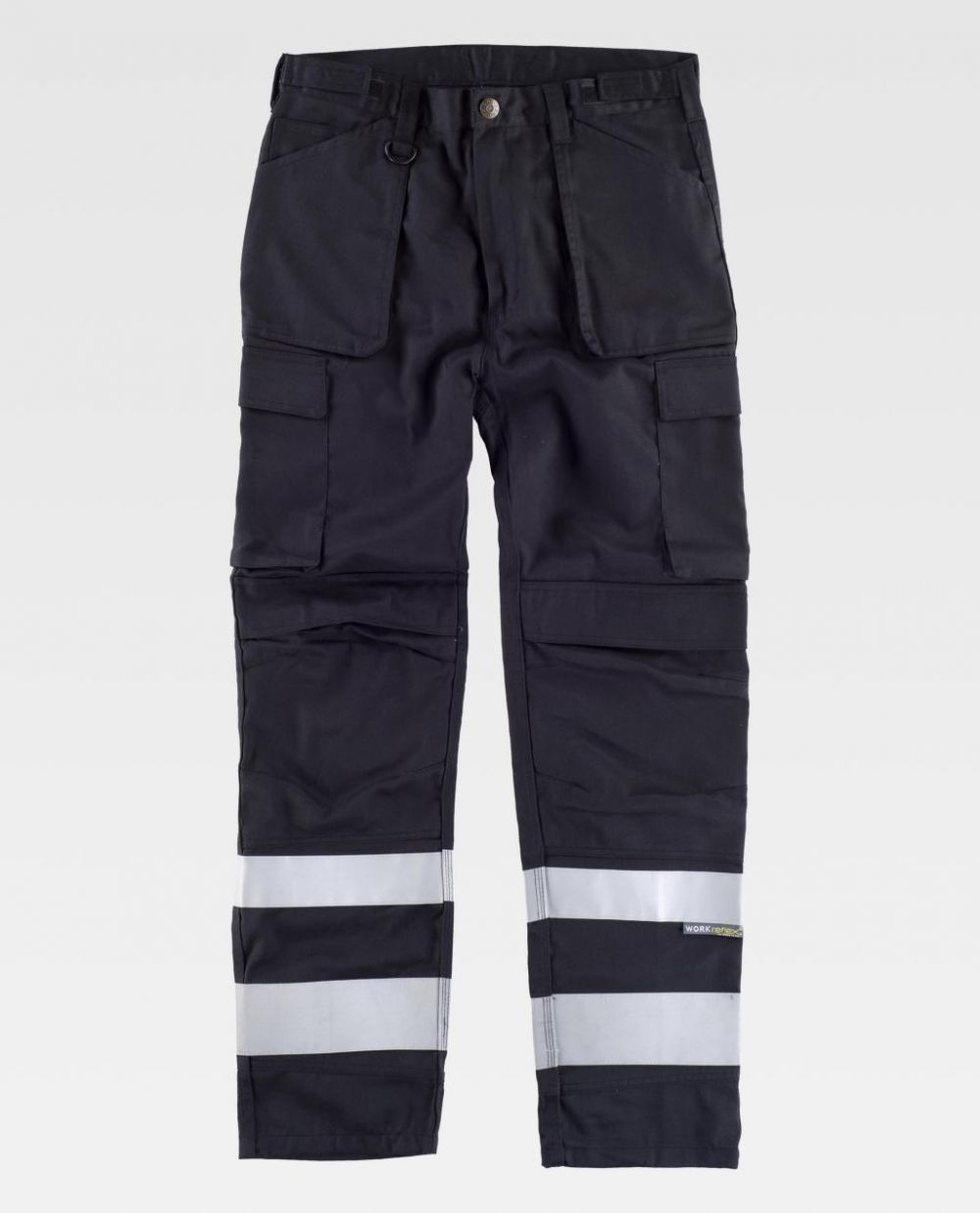 Pantalones reflectantes workteam triple costura de poliéster para personalizar vista 1