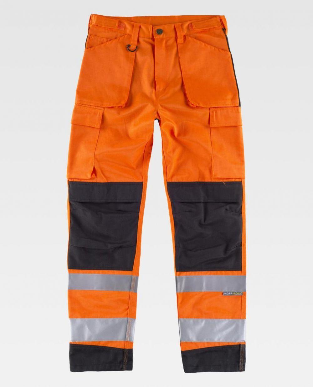 Pantalones reflectantes workteam de alta visibilidad de y combinado de poliéster vista 1