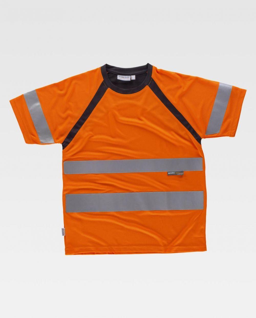 Camisetas reflectante workteam combinada mc en de poliéster para personalizar vista 1