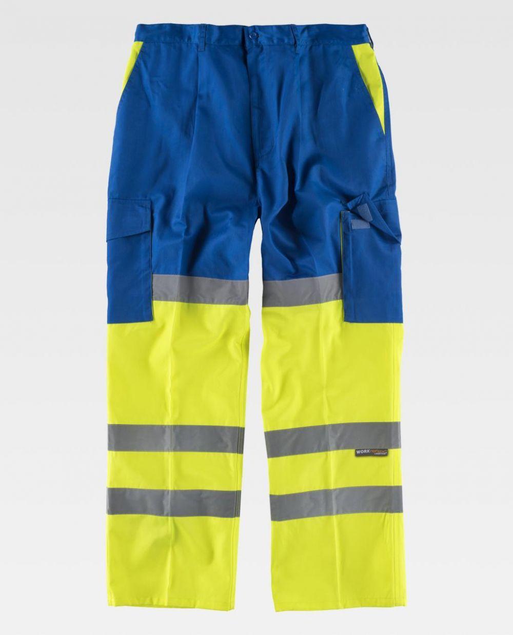 Pantalones reflectantes workteam combinado con refuerzos alta visibilidad de poliéster para personalizar vista 1