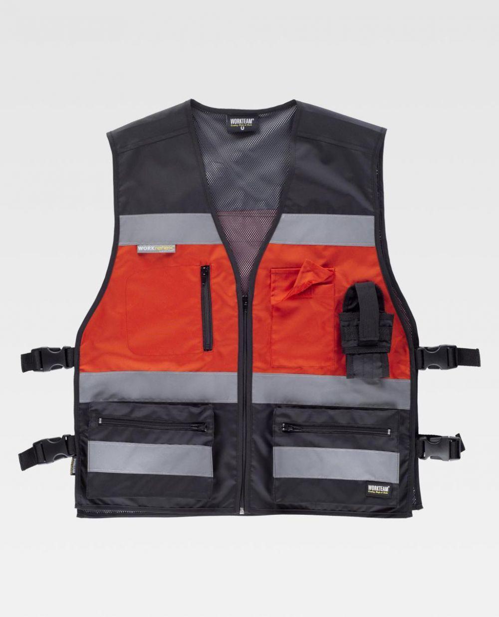 Chalecos reflectantes workteam tejido oxford ajustes laterales de poliéster para personalizar vista 1