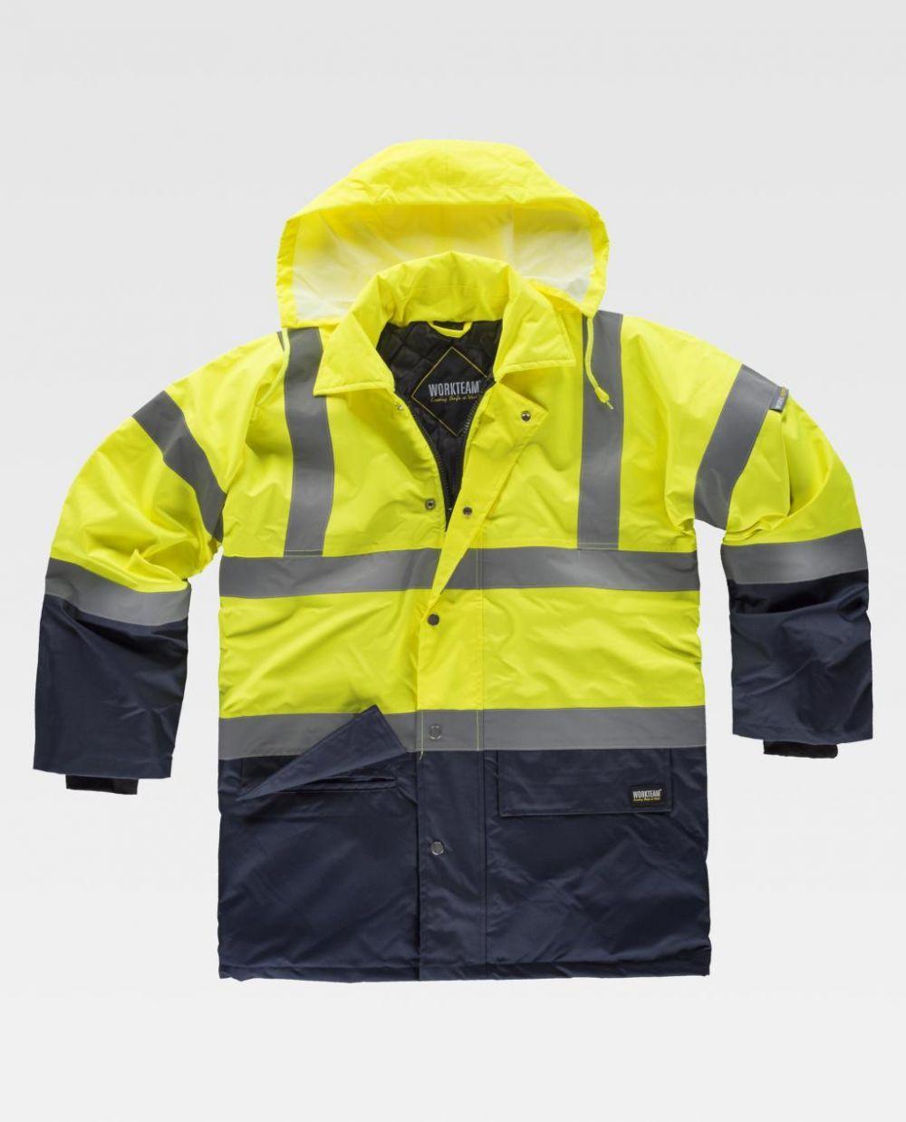 Chaquetas reflectantes workteam acolchada alta visibilidad y cuello camisero de poliéster para personalizar vista 1