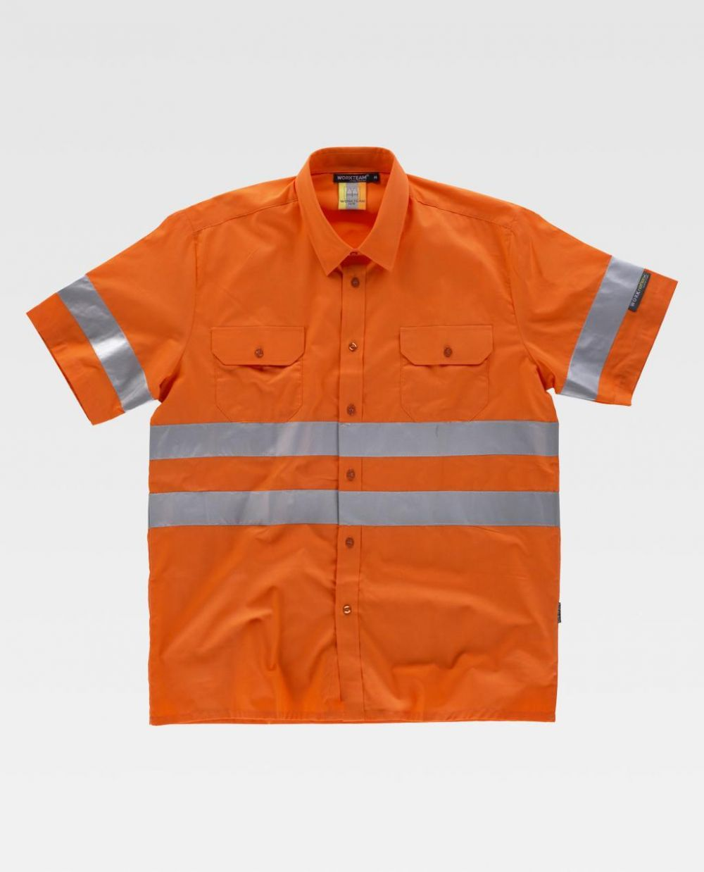 Camisas reflectantes workteam mc alta visibilidad de poliéster para personalizar vista 1