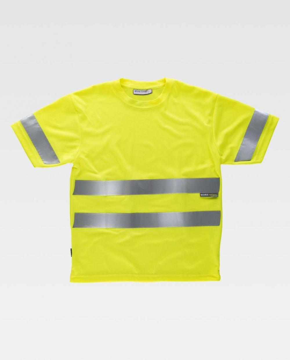 Camisetas reflectante workteam alta visbilidad mc con cintas reflectantes vista 1
