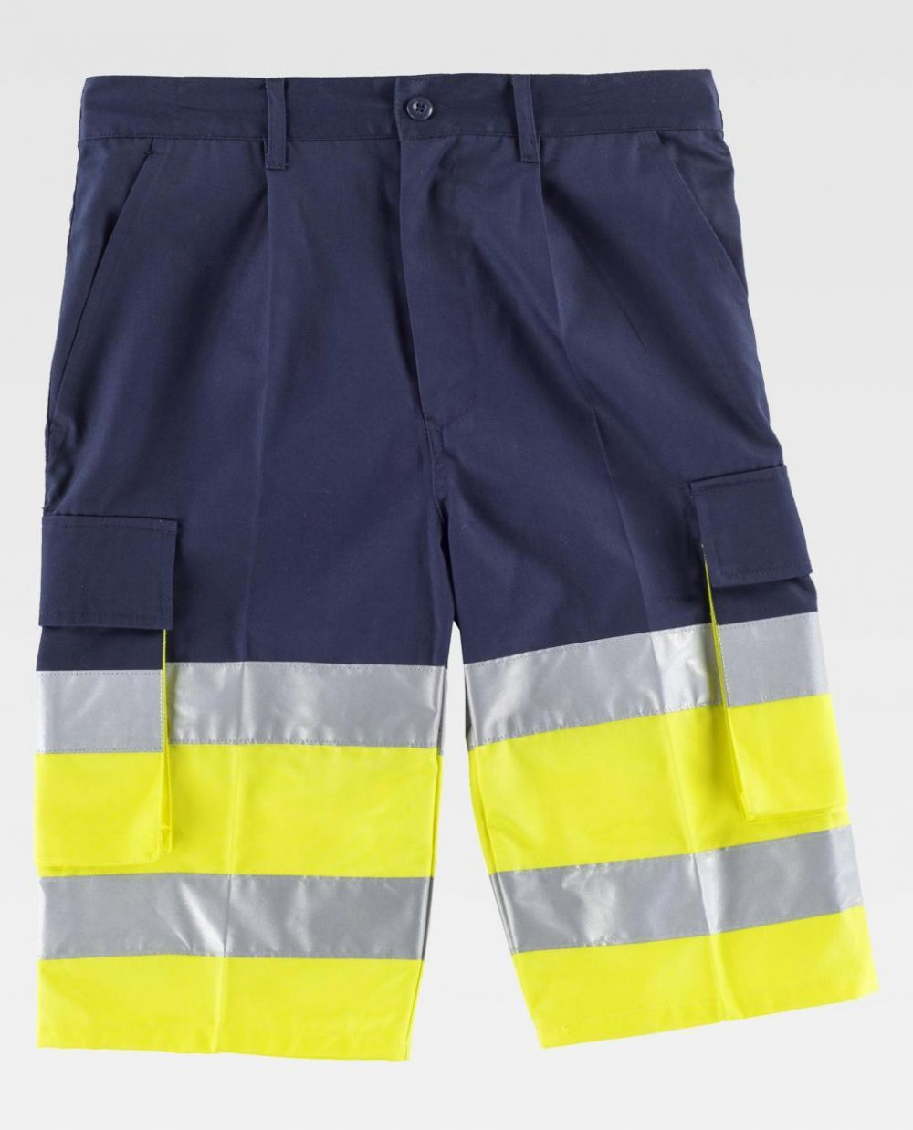 Pantalones reflectantes workteam bermuda combinada alta visibilidad de poliéster vista 1