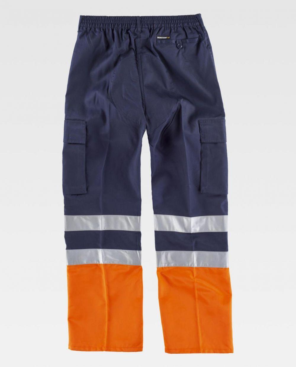 Pantalones reflectantes workteam con refuerzos combinado con alta visibilidad de poliéster vista 2