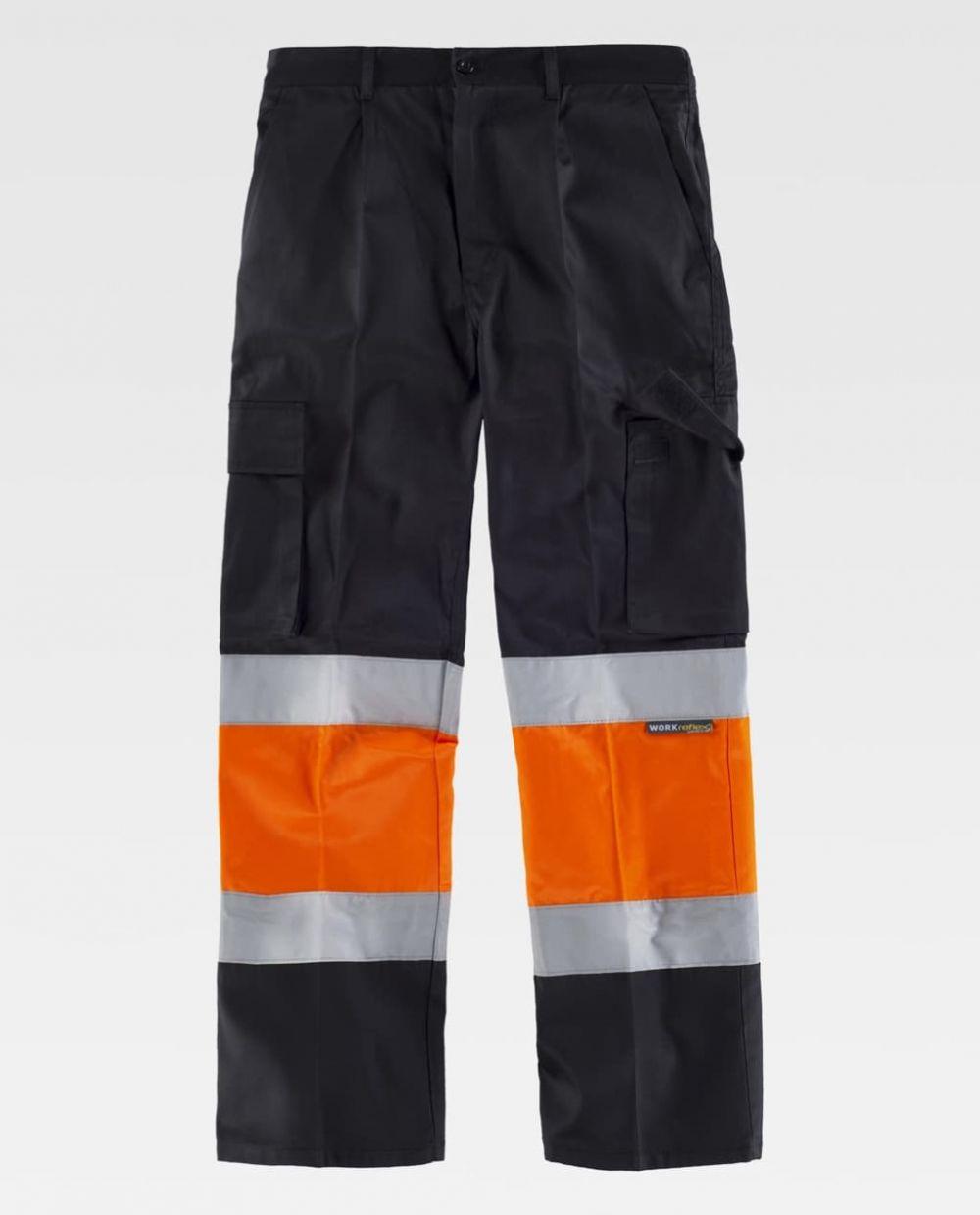 Pantalones reflectantes workteam combinado alta visibilidad , y dos bolsillos de poliéster vista 1