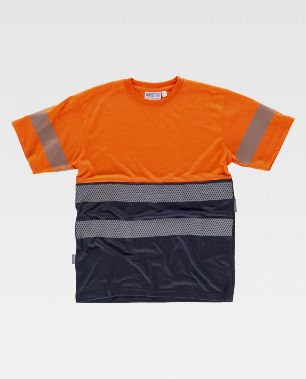 Camisetas reflectantes workteam mc combinada reflectante de poliéster vista 1