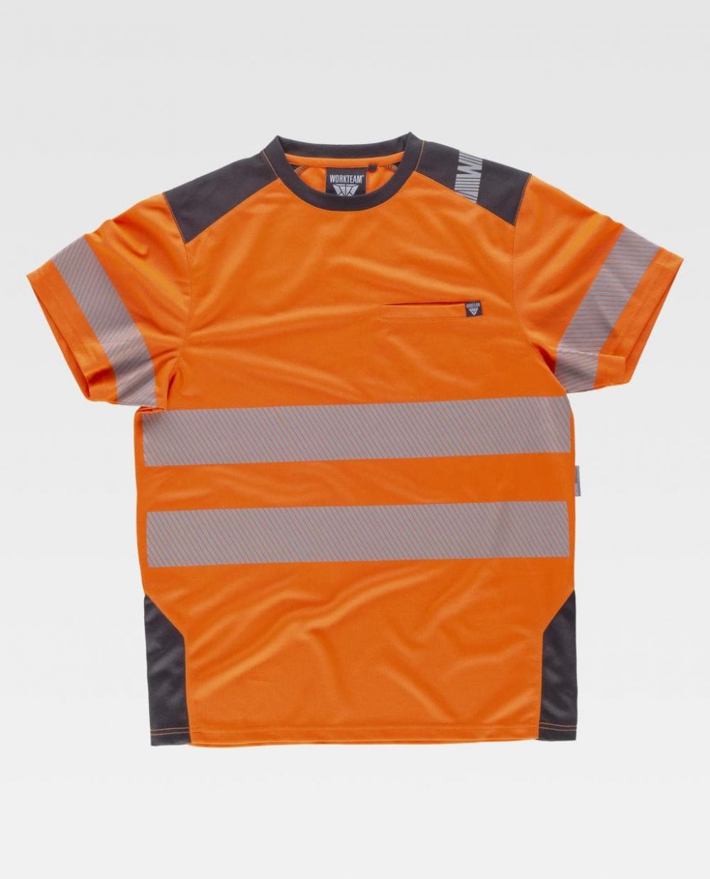 Camisetas reflectantes workteam mc alta visibilidad combinada de poliéster vista 1