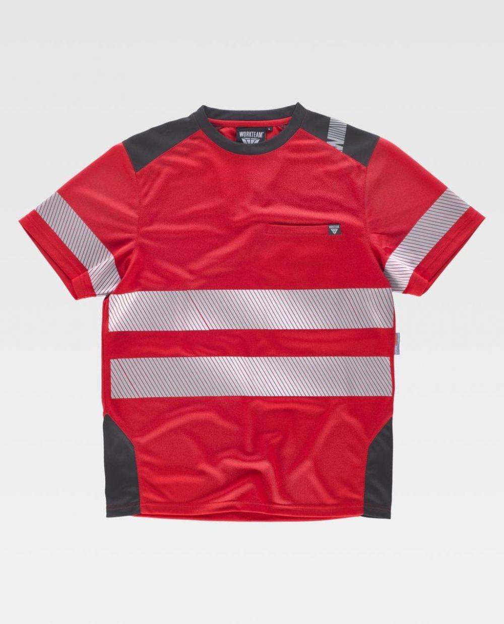 Camisetas reflectante workteam mc segmentadas de poliéster para personalizar vista 1
