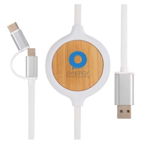 Cable 3 en 1 con cargador inalámbrico de bambú de 5W