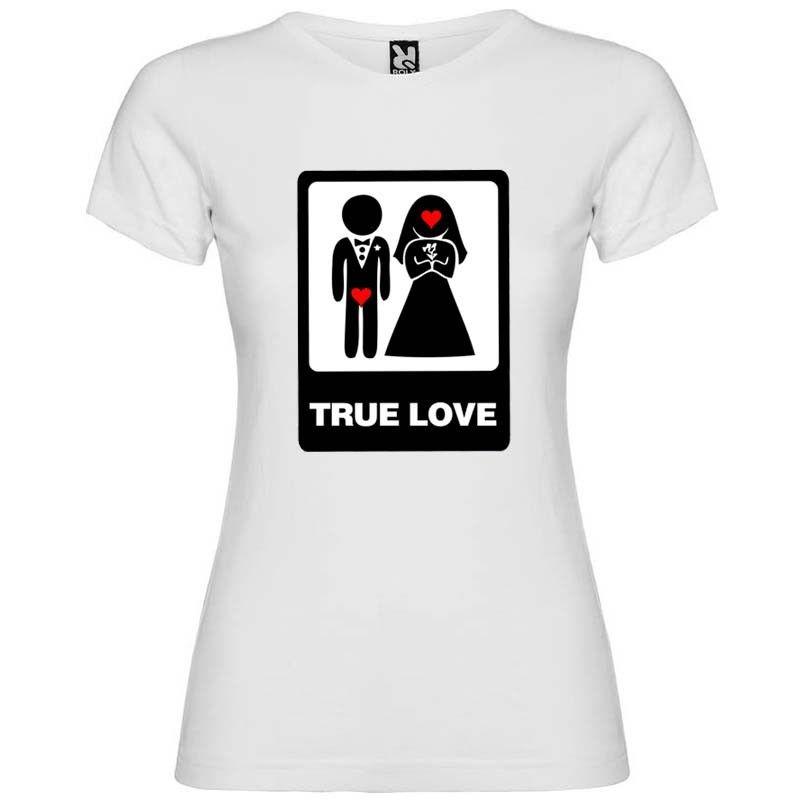 Camiseta blanca para mujer con diseño true love especial para despedidas de soltero vista 1