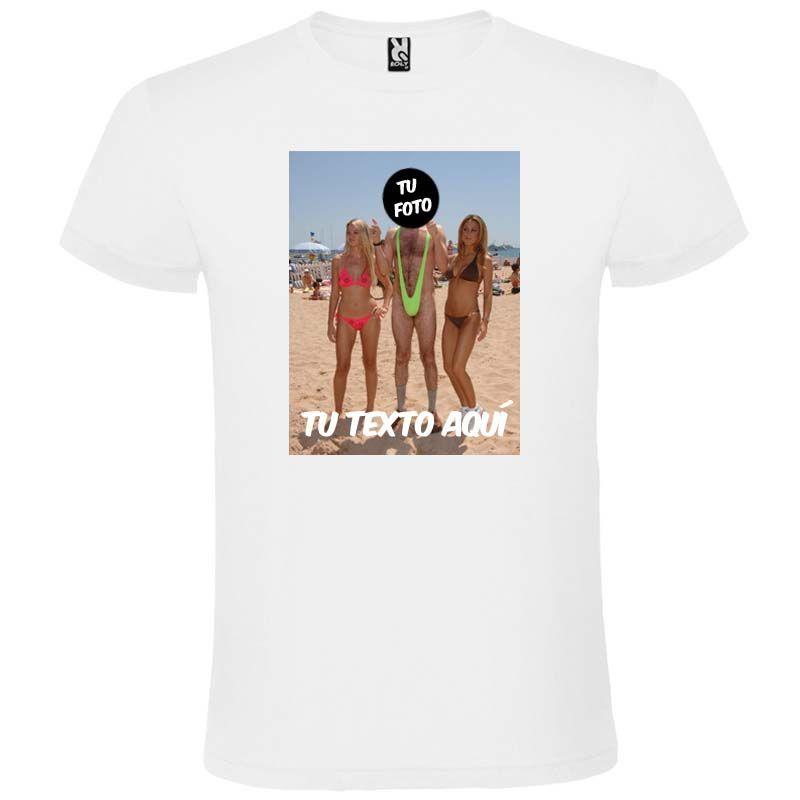 Camisetas despedida hombre blanca para fiestas con diseño de hombre en bañador 100% algodón vista 1