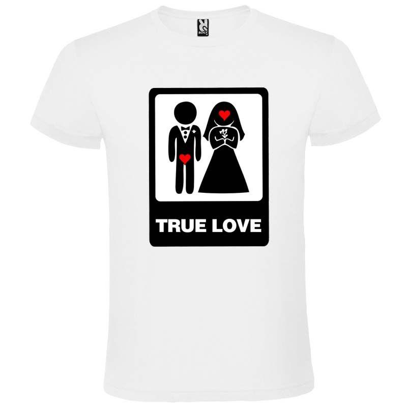 Camisetas despedida hombre blanca de despedidas unisex con dibujo true love 100% algodón vista 1
