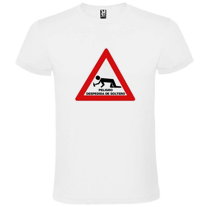Camisetas despedida hombre blanca de manga corta con diseño de señal de peligro 100% algodón para personalizar vista 1