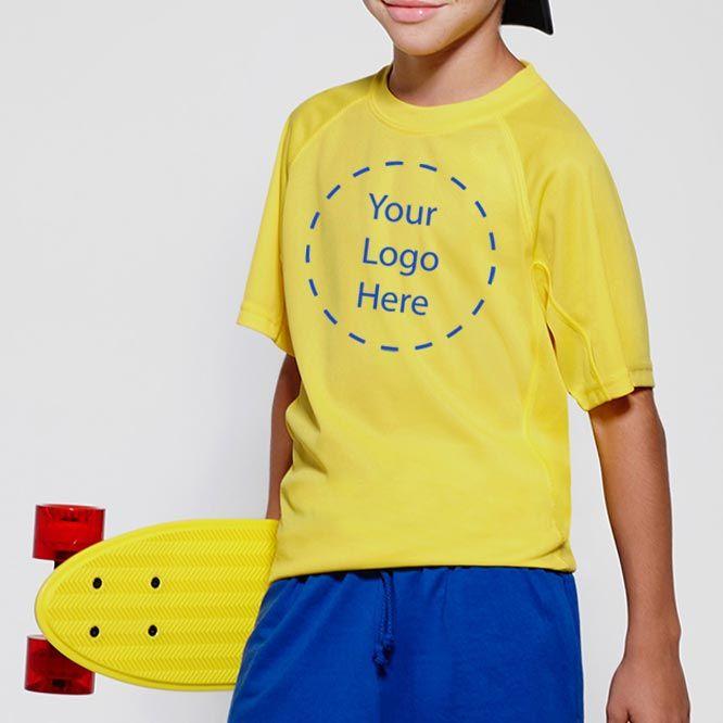 Camisetas técnicas roly montecarlo niño de poliéster con publicidad imagen 1