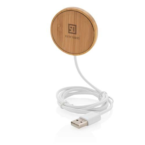 Cargador inalámbrico magnético de bambú de 10W