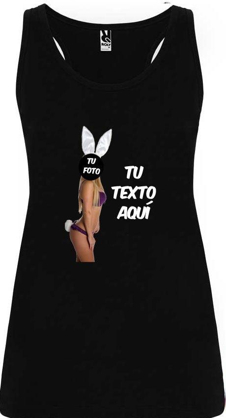 camiseta de tirantes de despedida para mujer en color con diseño de conejita con logo vista 1