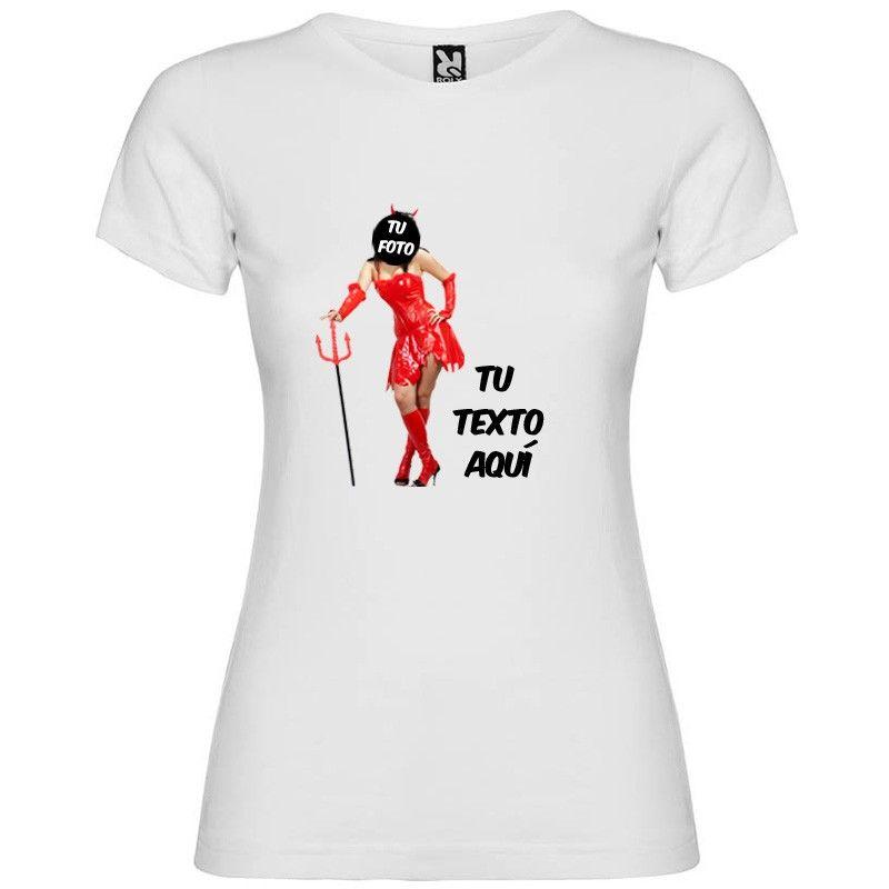 Camiseta blanca de despedida para mujer estampación de diablesa vista 1