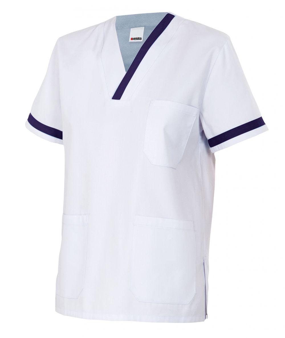 Casacas sanitarias camisola pijama de manga corta de poliéster con logo vista 1