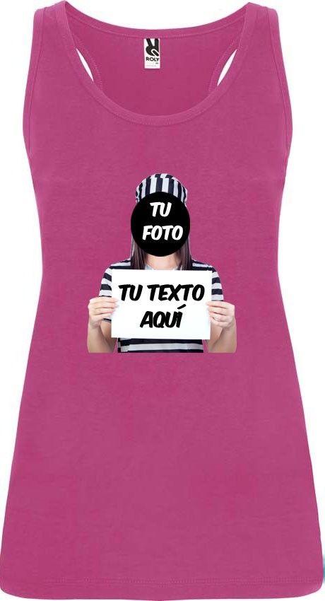 camiseta de tirantes de despedida diseño fugitiva para mujer en color vista 1