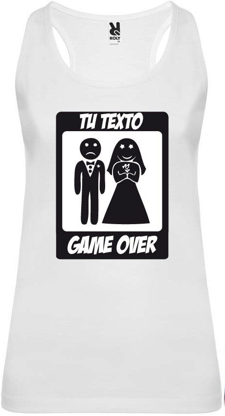 Camiseta blanca de tirantes para despedida de soltera con diseño game over para personalizar vista 1